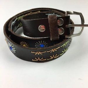 Silver Jeans Brown Leaves Embroidered Boho Belt